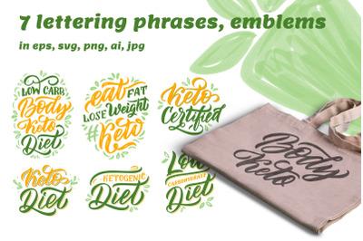 Keto life. Set of lettering phrases