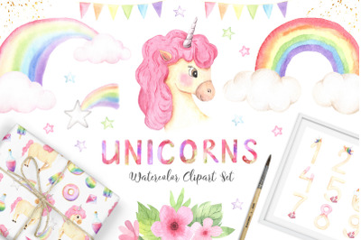 Watercolor Unicorns Set Vol.2