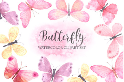 Watercolor Pink Butterfly Set