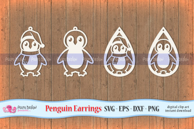 Penguin Earring SVG, Eps, Dxf and Png