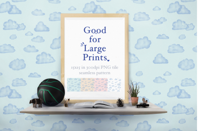 Watercolor Clouds Seamless Pattern XL printing