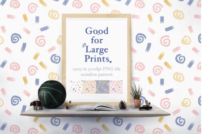 Swirls and Sprinkle Seamless Pattern XL printing
