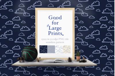 Flat Clouds Seamless Pattern XL printing