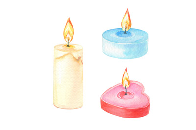 Watercolor set of candles