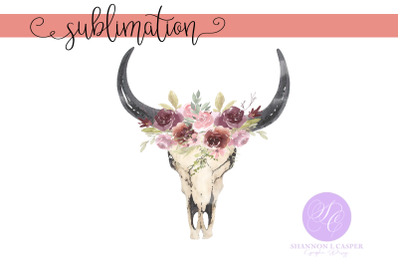 Boho Cow Skull with Handpainted Watercolor Flowers