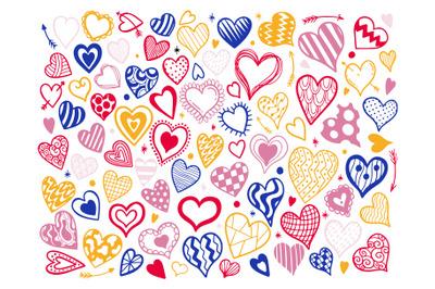 Heart color set doodle