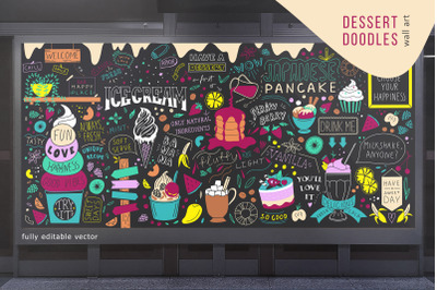 Dessert doodles chalkboard wall art