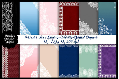 Lace and Floral Edged Digital Papers