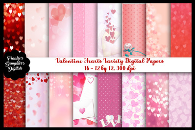 Valentine Hearts Variety Digital Papers