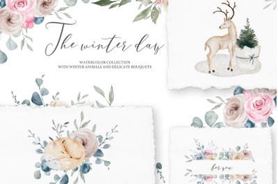 The winter day Watercolor Set