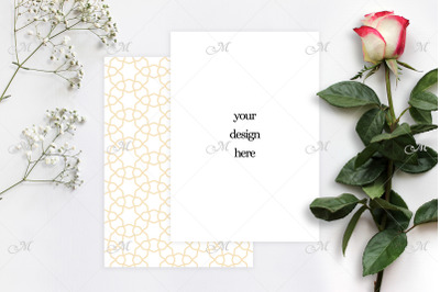Red-white Rose and Paper Mock up