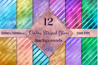 Ombre Striped Glass Backgrounds - 12 Image Textures Set