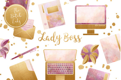 Lady Boss Office Clipart Set