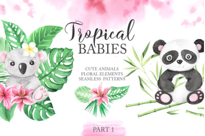 Watercolor Tropical Babies Set 1