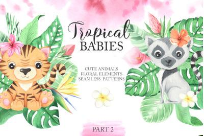 Watercolor Tropical Babies Set 2