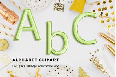 Green foil balloon alphabet clipart, Green balloons, Green Foil