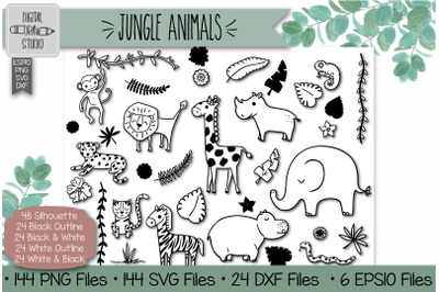 144 Hand Drawn Jungle Animals and Tropical leafs