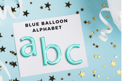 Light Blue foil balloon alphabet clipart, Blue balloons, Blue Foils