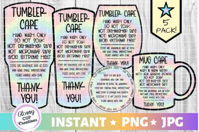 Tumbler Care Card Pack, PNG, Print and Cut, Tie Dye Design
