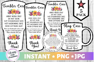 Tumbler Care Card Pack, PNG, Print and Cut Care Cards Floral