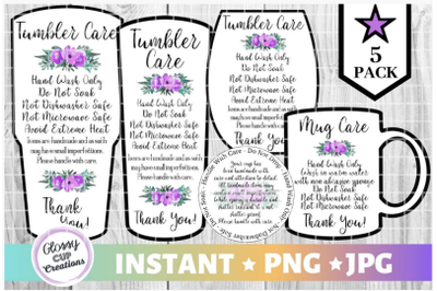 Tumbler Care Card Pack, PNG, Print and Cut Care Cards Purple