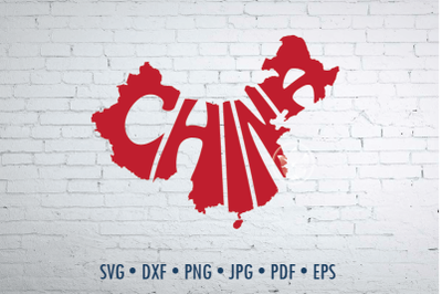 China Word Art in map shape, Svg Dxf Eps Png Jpg, Cut file