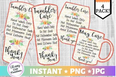 Tumbler Care Card Pack, PNG, Print and Cut, Orange Floral