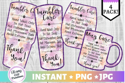 Tumbler Care Card Pack, PNG, Print and Cut, Purple