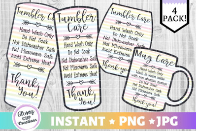 Tumbler Care Card Pack, PNG, Print and Cut, Rainbow