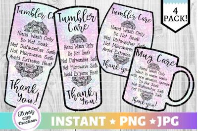 Tumbler Care Card Pack, PNG, Print and Cut, Paisley