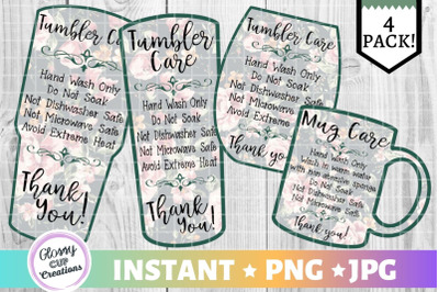 Tumbler Care Card Pack, PNG, Print and Cut, Green Floral