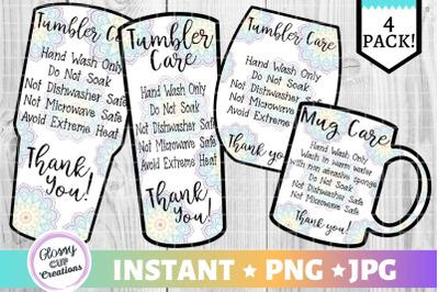 Tumbler Care Card Pack, PNG, Print and Cut, Mandala