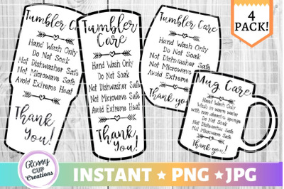 Tumbler Care Card Pack, PNG, Print and Cut, Heart Arrows