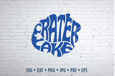 Crater Lake word Art, Svg Dxf Eps Png Jpg, Cut file, Map shape