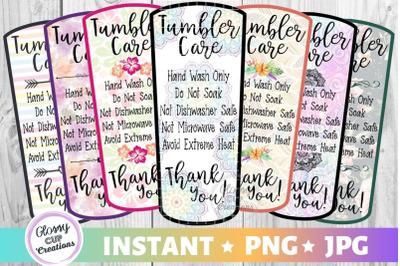 Medium Tumbler Care Card Pack, PNG, Print and Cut, 7 Designs!