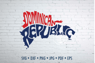 Dominican Republic Word Art, Svg Dxf Eps Png Jpg, Words in map shape