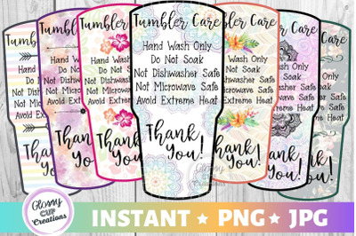 Large Tumbler Care Card Pack, PNG, Print and Cut, 7 Designs!