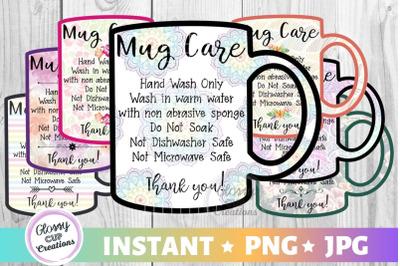 Mug Care Card Pack, PNG, Print and Cut, 7 Designs!