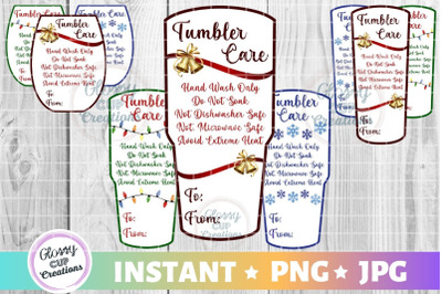 Ultimate Pack of Holiday Tumbler Care Cards, Print to Cut