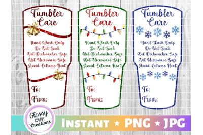 Large Tumbler Holiday Care Card Pack, PNG, Print and Cut