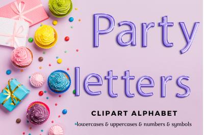Violet Foil Balloon Alphabet Clipart, Blue balloons font
