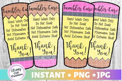 Pencil Tumbler Care Card Pack, PNG, Print and Cut, Teacher