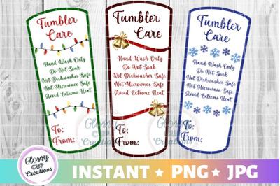 Medium Tumbler Holiday Care Card Pack, PNG, Print and Cut