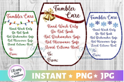 Small Tumbler Holiday Care Card Pack, PNG, Print and Cut