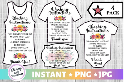 Garment Care Card Pack, PNG, Print and Cut, Floral Design