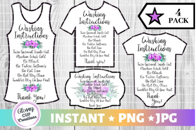 Garment Care Card Pack, PNG, Print and Cut, Purple Floral