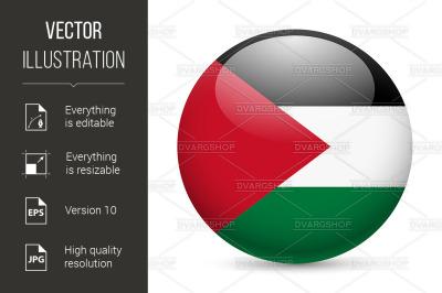 """Round glossy icon of Palestine"""
