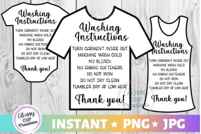 Shirt Care Card Pack, PNG, Print and Cut, 3 Pack!