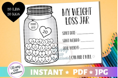 My Weight Loss Jar 20 lbs, JPG, PDF, Printable Coloring Page!