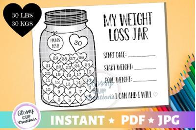My Weight Loss Jar 30 lbs, JPG, PDF, Printable Coloring Page!